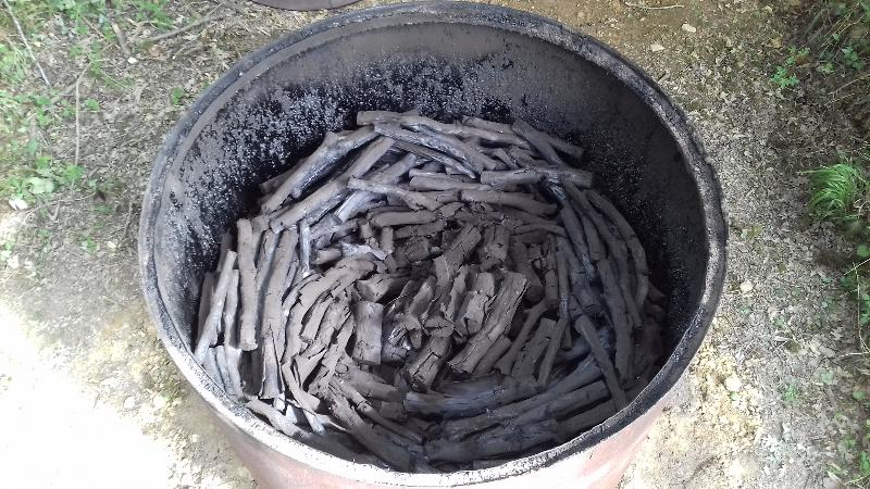 kiln full of finished charcoal