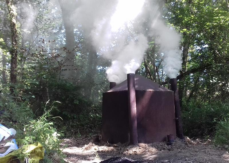 Kiln producing steam rather than smoke