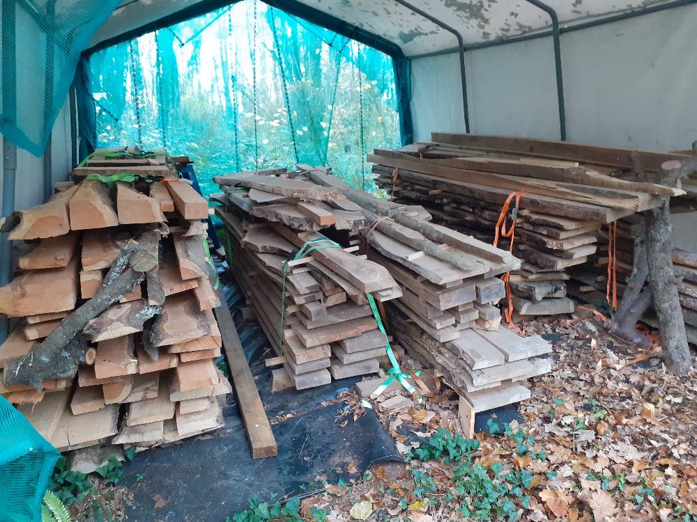 Timber in semi permanent drying shed